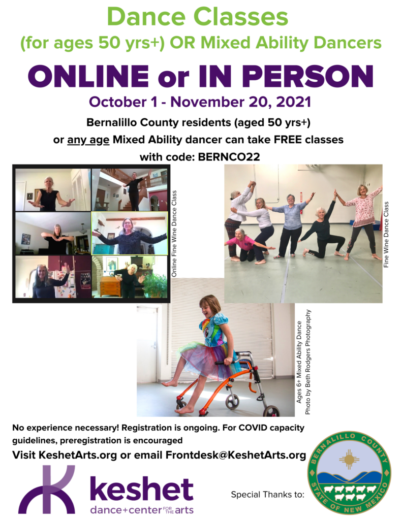 Bernallio County residents with physical or developmental disability can take free dance classes with code BERNCO22 until November 20